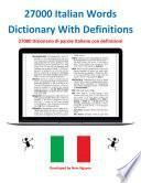 27000 Italian Words Dictionary With Definitions