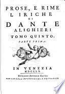 5: Prose, e rime liriche di Dante Alighieri