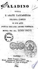 Aladino, ossia L'abate Taccarella dramma comico in due atti poesia del sig. Leone Tottola