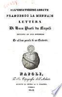 All'ornatissimo abbate Francesco Lamennais lettera di Luca Puoti da Napoli intorno al suo opuscolo Le parole di un credente