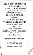 Alla Congregazione generale del Tribunale del Governo ... nella causa Romana di preteso stupro immaturo per Achille Crispi