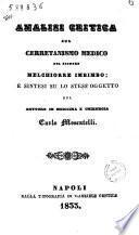 Analisi critica sul cerretanismo medico del signor Mechiorre Imbimbo; e sintesi su lo stess'oggetto del dottore ... Carlo Moscatelli