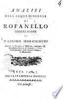 Analisi dell'acqua minerale di Rofanello dissertazione di Massimo Moreschini ..