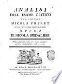 Analisi dell'esame critico del signor Nicola Freret sulle prove del Cristianesimo opera di Nicola Spedalieri
