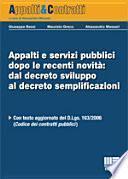Appalti e servizi pubblici dopo le recenti novità: dal decreto sviluppo al decreto semplificazioni
