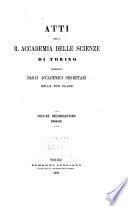 Atti della Reale Accademia delle scienze di Torino
