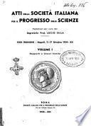 Atti della Società italiana per il progresso delle scienze