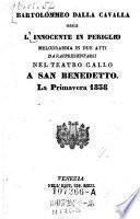 Bartolommeo dalla Cavalla, ossia, L'Innocente in Periglio