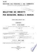 Bollettino dei brevetti per invenzioni, modelli e marchi