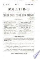 Bollettino della Società romana per gli studi zoologici