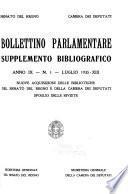 Bollettino Parlamentare. Supplemento Bibliografico