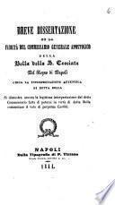 Breve dissertazione su la facoltà del commissario generale apostolico della Bolla della S. Crociata del Regno di Napoli circa la interpretazione autentica di detta bolla [Michele Manzo]