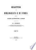 Bullettino di bibliografia e di storia delle science matematiche e fisiche