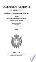 Calendario generale pe' Regii Stati pubblicato con autorità del Governo e con privilegio di S.S.R.M