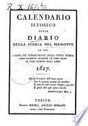 Calendario istorico ossia Diario della storia del Piemonte in cui i fatti piu rimarchevoli della storia patria sono riferiti secondo le loro date in ogni giorno dell'anno. 1817-1818