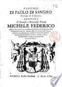 Capitoli di Paolo Di Sangro principe di S. Severo, dedicati all'eminentiss. e reverendiss. principe Michele Federico ..