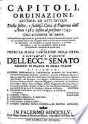 Capitoli ordinazioni lettere ed atti diversi della Citta di Palermo dall'