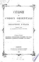 Cataloghi dei codici orientali di alcune biblioteche d'Italia