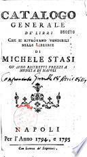 Catalogo... de' libri... vendibili nelle librerie di M. Stasi