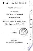 Catalogo della libreria del fu cavaliere Giuseppe Bossi pittore Milanese