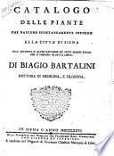 Catalogo delle piante che nascono spontaneamente intorno alla cita' di Siena