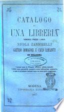 Catalogo di una libreria vendibile presso i librai Nicola Zanichelli, Gaetano Romagnoli e Carlo Ramazotti in Bologna