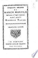 Cinquanta parabole di Marco Marulo dal latino al volgare trasportate dall'abate Giuseppe Tacini