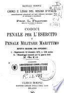 Codici penale per l'esercito e penale militari marittimo