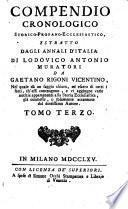 Compendio cronologico Storico-Profano-Ecclesiastico, estratto dagli Annali d'Italia di Lodovico Antonio Muratori