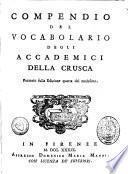 Compendio del Vocabolario degli Academici della Crusca