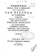 Compendio della vita e miracoli gel glorioso San Niccola di Tolentino