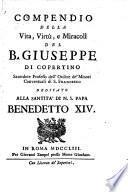Compendio della vita, virtù e miracoli del B. Giuseppe di Copertino