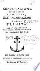 Confutazione degli errori su mistery dell'incarnazione e della trinita