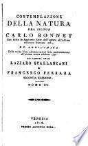 Contemplazione della natura ... arricchita delle molte note ... dai ... Lazzaro Spallanzani e Francesco Ferrara