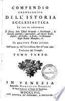 Copmendio cronologico dell'istoria ecclesiastica ... 33 - 1700