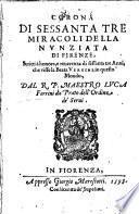 Corona di sessanta tre miracoli della Nunziata di Firenze