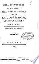 Cosa contengono li documenti della cristiana antichita sopra la confessione auricolare? Di Eibel