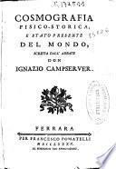 Cosmografia fisico-storica, e stato presente del mondo
