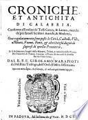 Croniche et antichità di Calabria