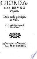 De la causa, principio et Uno (etc.)