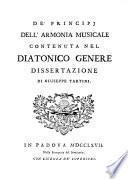 De' principj dell'armonia musicale contenuta nel diatonico genere
