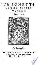 De Sonetti Di M. Benedetto Varchi, Parte prima