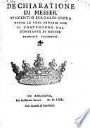 Dechiaratione ... sopra tutte le voci proprie, che si contengono nel Constante di Francesco Bolognetti