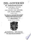 Del governo et amministrazione di diversi regni