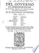 Del governo et amministrazione di diversi regni libri XXII