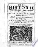 DELL' HISTORIE VNIVERSALI D'EVROPA.