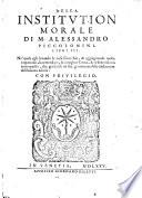 Della institution morale di M. Alessandro Piccolomini