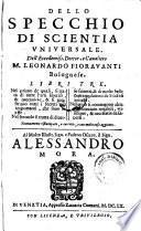 Dello specchio di scientia universale ... libri 3. (etc.) Nuovamento ristamp. e corr