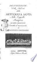 Descrizione delle funzioni della Settimana Santa nella Cappella Pontificia