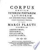 Di Marco Plauto Le Commedie Amfitruone, Asinaria, Pentolaria, Cistellaria